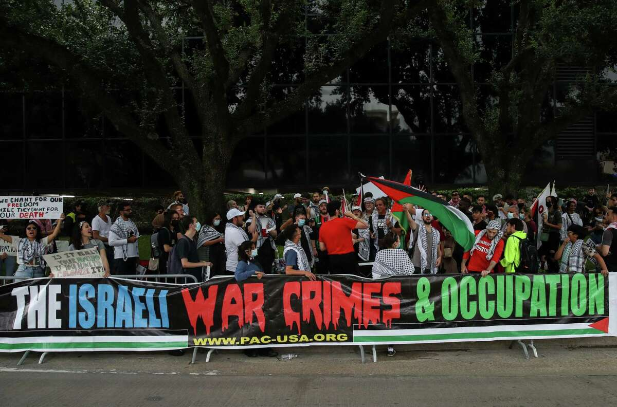 People protest against Israel on Monday, July 5, 2021, in Houston.
