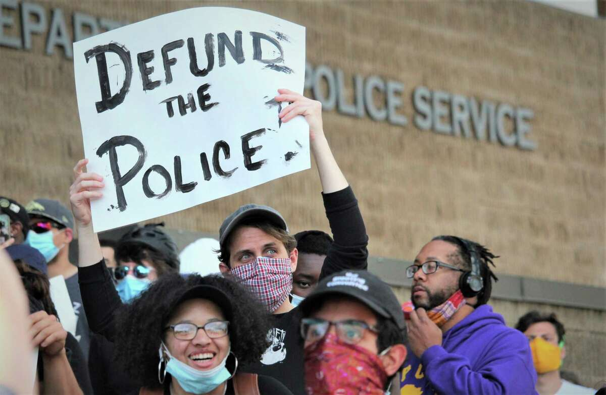 Protesters at the New Haven Police Department headquarters on May 31, 2020, included many who called for defunding police in Connecticut.