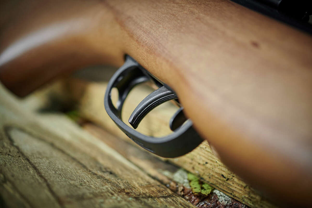 Detail of the trigger and safety catch on a Pellpax Rabbit Sniper MkII air rifle