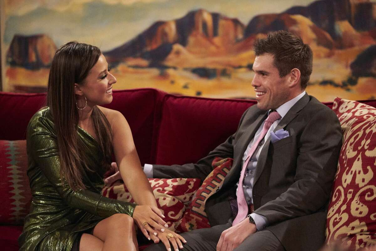 Hunter Montgomery (right) from Houston is still alive on Katie Thurston's season of The Bachelorette.