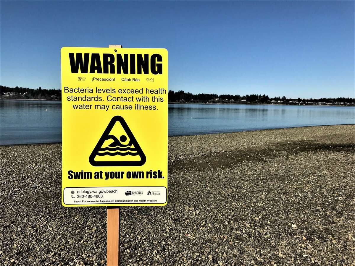 Closed beach due to bacteria.
