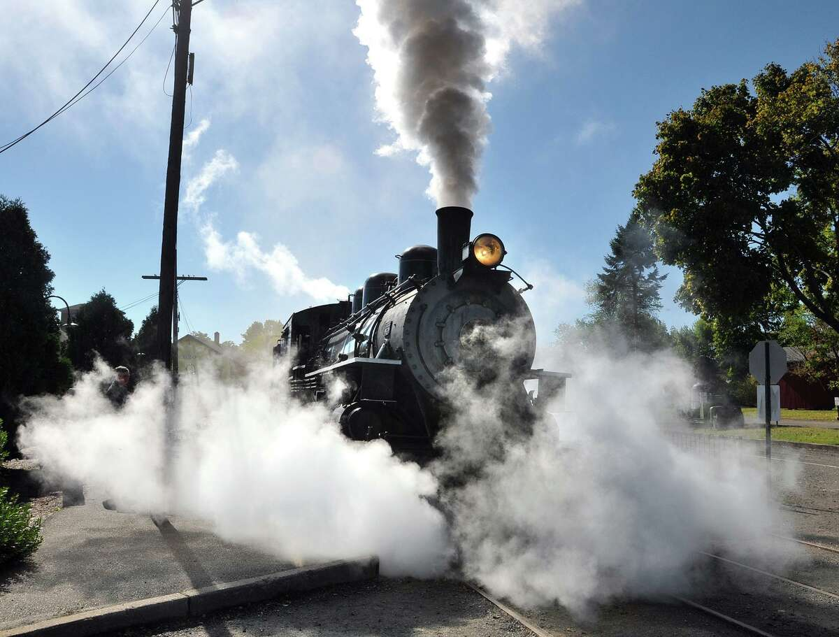 The Essex Steam Train leaves the station.