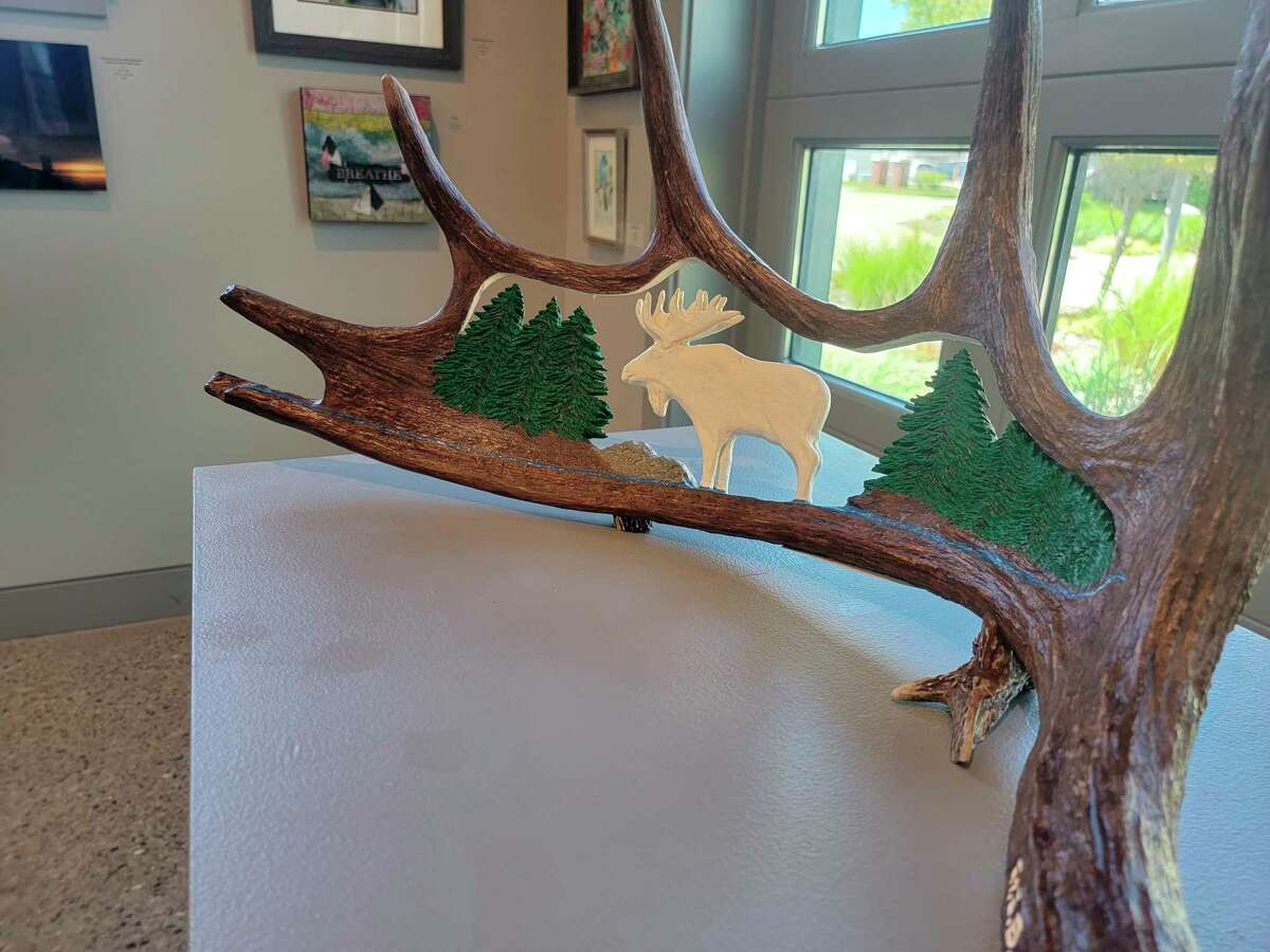 An untiled carving within a moose antler by George Baily was one of a kind at the Oliver Art Center's 2021 Summer Members Exhibition. (Colin Merry/Record Patriot)