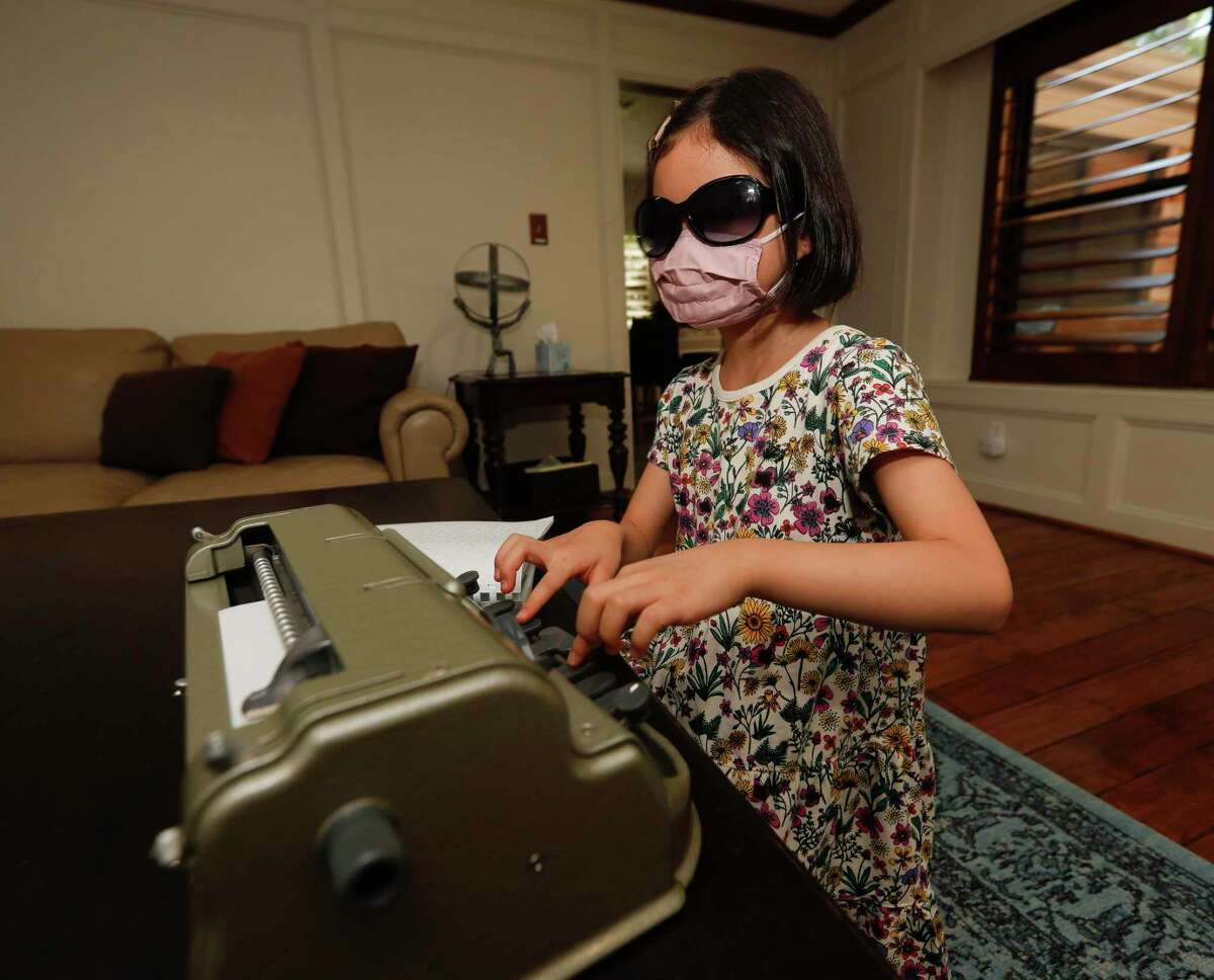 Joyce Bailey types on her specialized Braille typewriter at her home, Thursday, July 1, 2021, in Spring. Bailey is awaiting her result after competing in the finals of the Braille Challenge, which tests and promotes braille literacy. It is the only academic competition of its kind in North America for students who are blind or visually impaired.