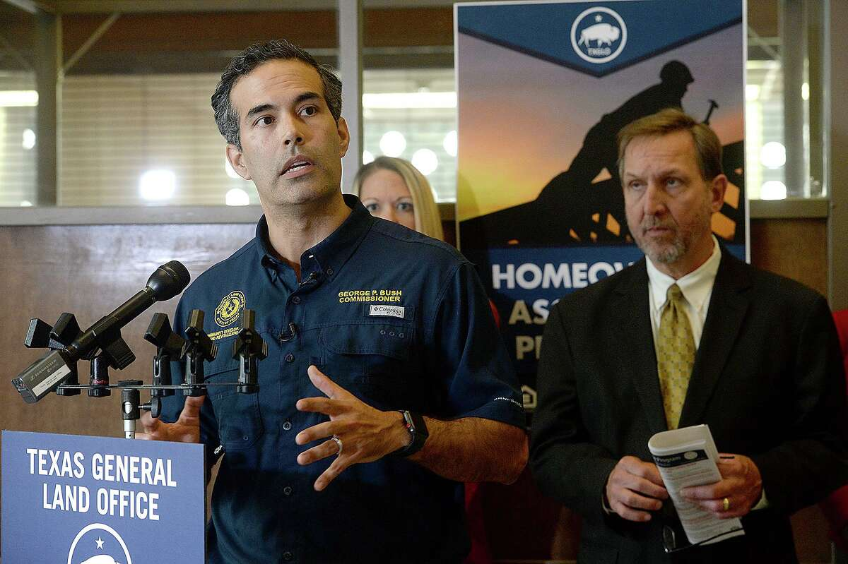 Texas Land Commissioner George P. Bush speaks during a stop in Jefferson County Nov. 18, 2018. The Texas General Land Office rolled out their newest Homeowner Assistance Program in the region to further aid to those still recovering from Tropical Storm Harvey.