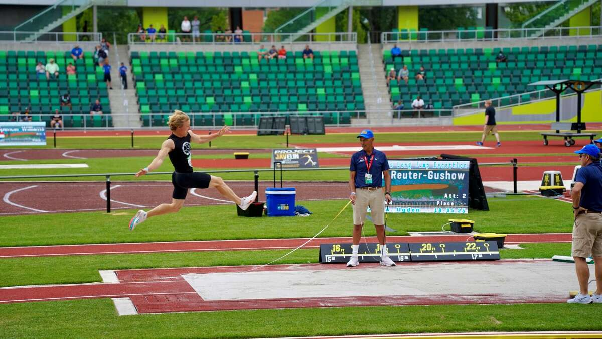 Midland's Noah Reuter-Gushow competes in the long jump during The Outdoor Nationals decathlon in Eugene, Oregon recently.