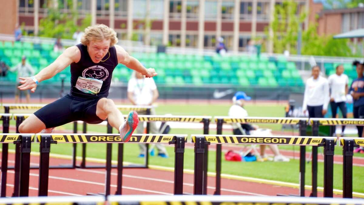 Midland's Noah Reuter-Gushow competes in the 110-meter hurdles during The Outdoor Nationals decathlon in Eugene, Oregon recently.