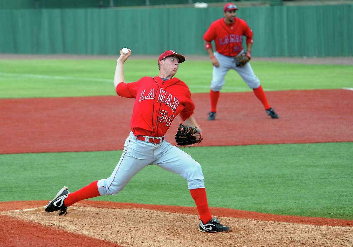 Lamar's Blake Ford pitches during the game against Northwestern State at Lamar University in Beaumont, Saturday. Tammy McKinley/The Enterprise