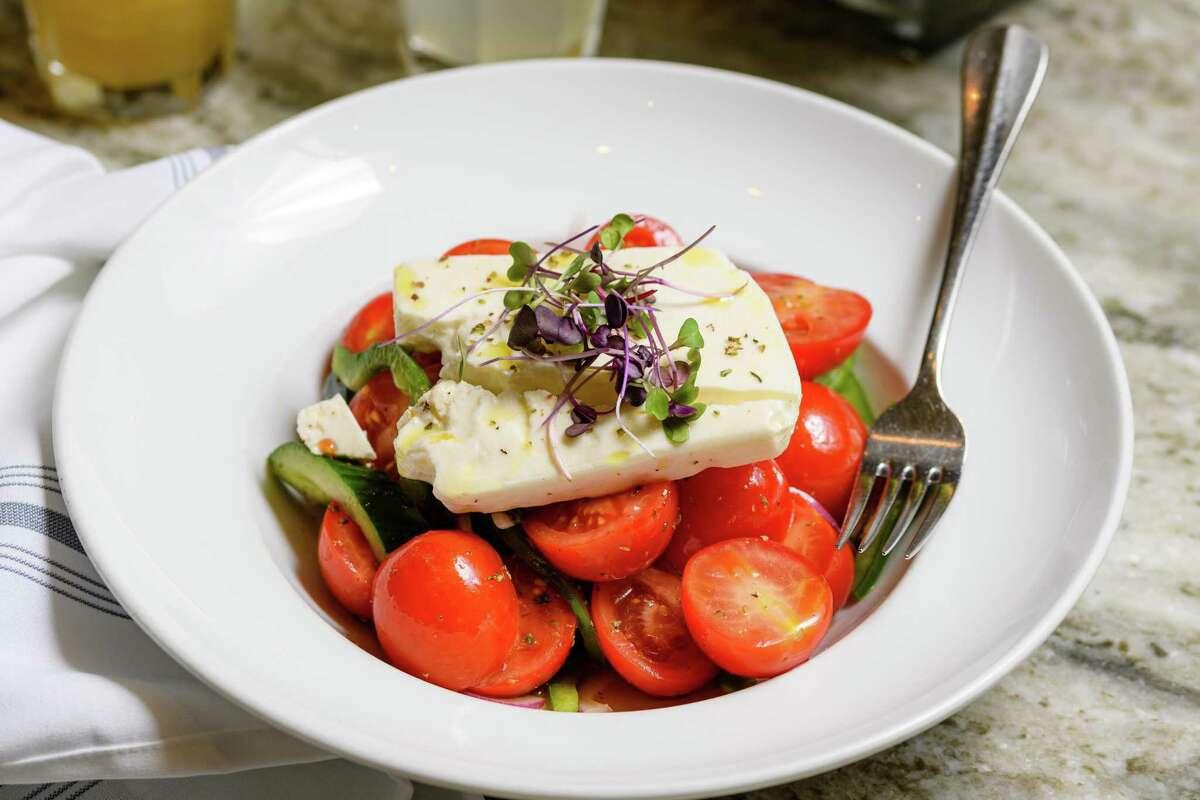 The Greek salad uses plenty of local produce.
