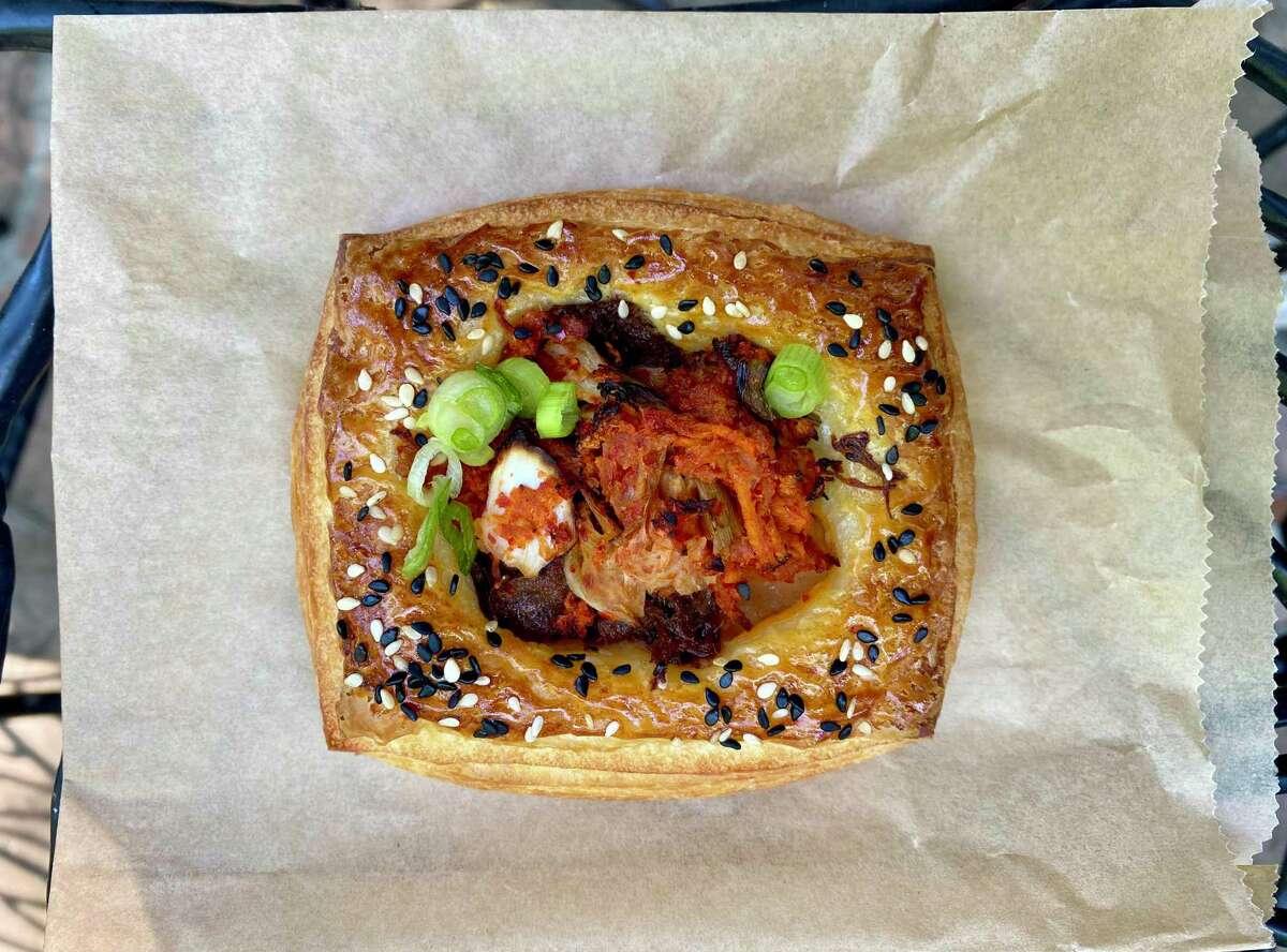 A kimchi short rib croissant tart from John Shelsta's Love for Butter pastry pop-up.