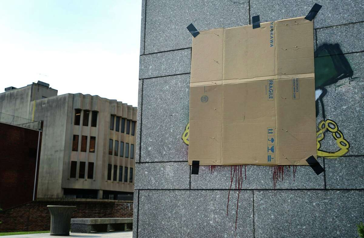 Stamford Superior Court defaced with graffiti Tuesday, July 6, 2021, in Norwalk, Conn.