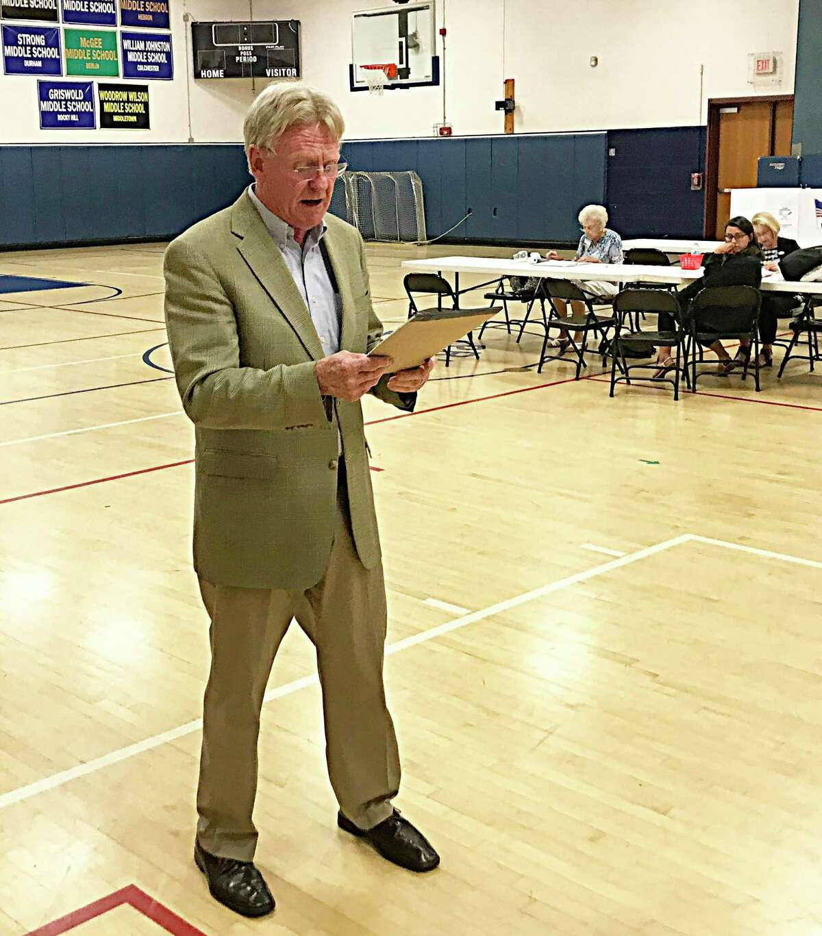 """The late East Hampton election moderator Robert """"Red"""" McKinney is shown in December 2019."""