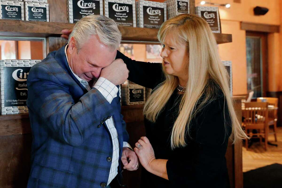 Kidney transplant recipient Donna Hawkins, right, comforts Chris Tritico, the father of a kidney donor, after the two Houstonians met for the first time in February. Congress must pass the Living Donor Protection Act, which would prohibit discrimination in insurance practices based on an individual's status as a living organ donor.