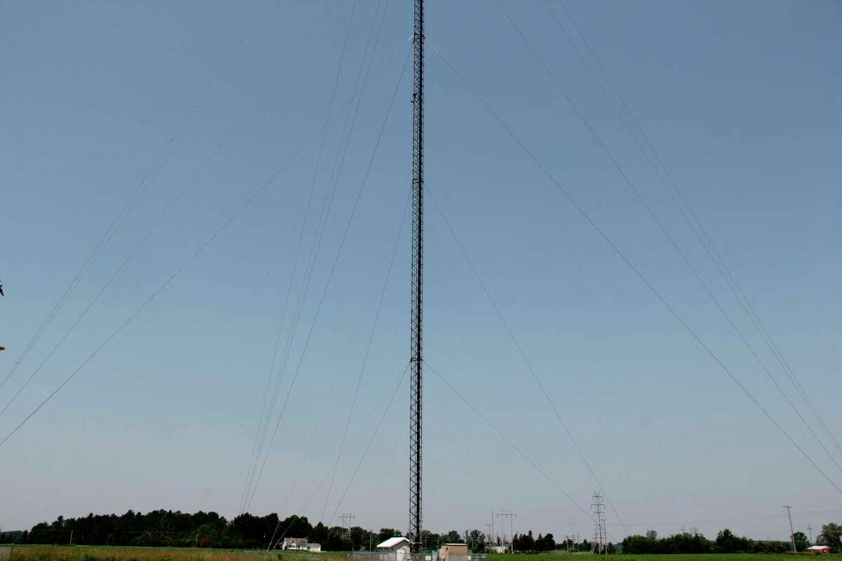 T-Mobile is looking to expand its 5G coverage in Harbor Beach by colocating on a cell tower like this one. The coverage is not planned to start in the area until at least the middle of 2022. (Robert Creenan/Huron Daily Tribune)