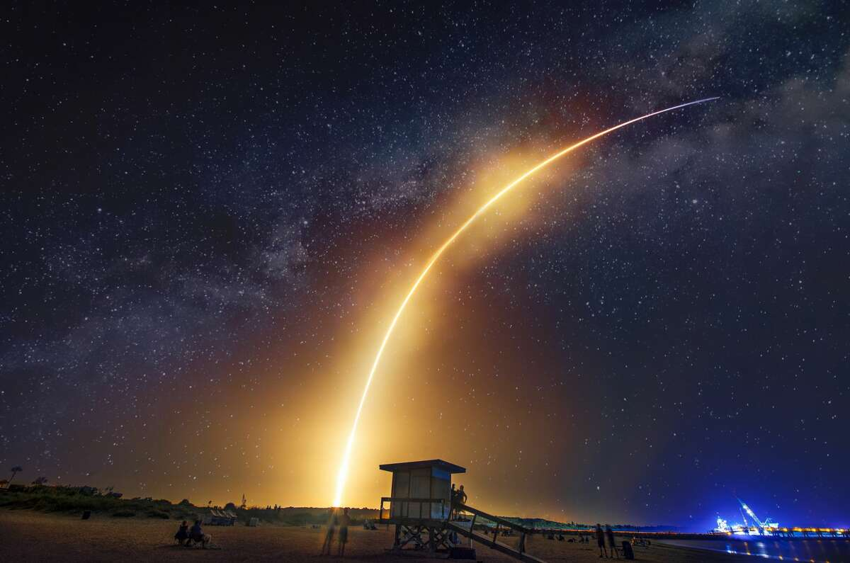 The Falcon Heavy by SpaceX launching at Cape Canaveral, Florida