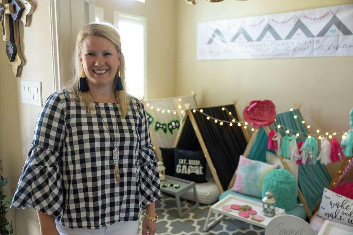 Emily Gillen, a full-time teacher of Conroe ISD and owner of The Slumber Party Club, poses for a portrait in her home, Thursday, June 17, 2021, in Conroe. The Slumber Party Club provides everything kids need for their sleepovers.