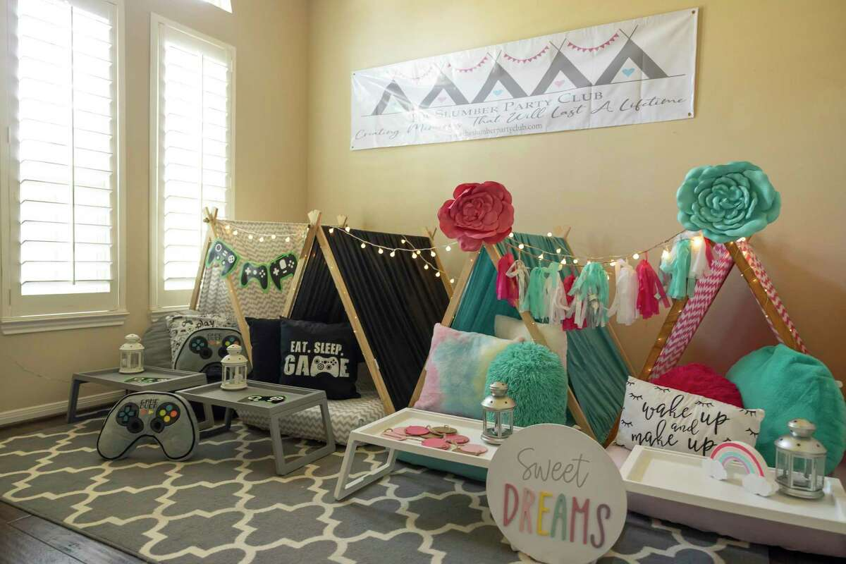 Products from The Slumber Party Club are seen in the home of Emily Gillen, a full-time teacher of Conroe ISD, Thursday, June 17, 2021, in Conroe. The Slumber Party Club provides everything kids need for their sleepovers.