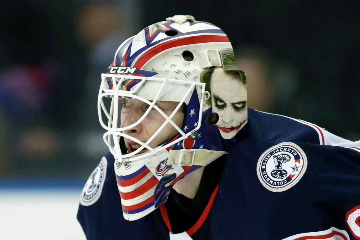 FILE - Columbus Blue Jackets goaltender Matiss Kivlenieks (80) is shown during the second period of an NHL hockey game in New York, in this Sunday, Jan. 19, 2020, file photo. The Columbus Blue Jackets and Latvian Hockey Federation said Monday, July 5, 2021, that 24-year-old goaltender Matiss Kivlenieks has died.