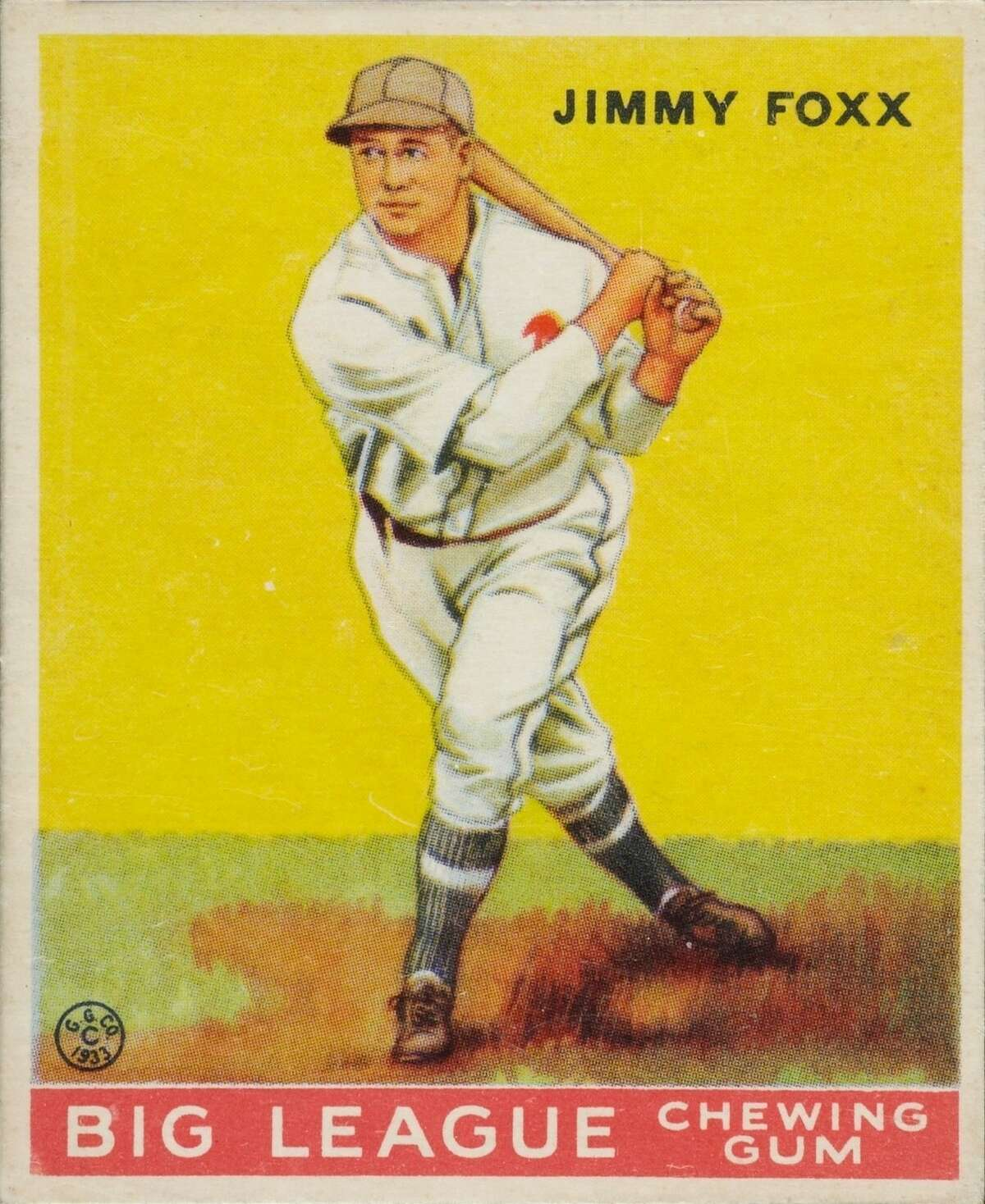 A baseball card featuring Jimmie Foxx -- a big hitter of his time.