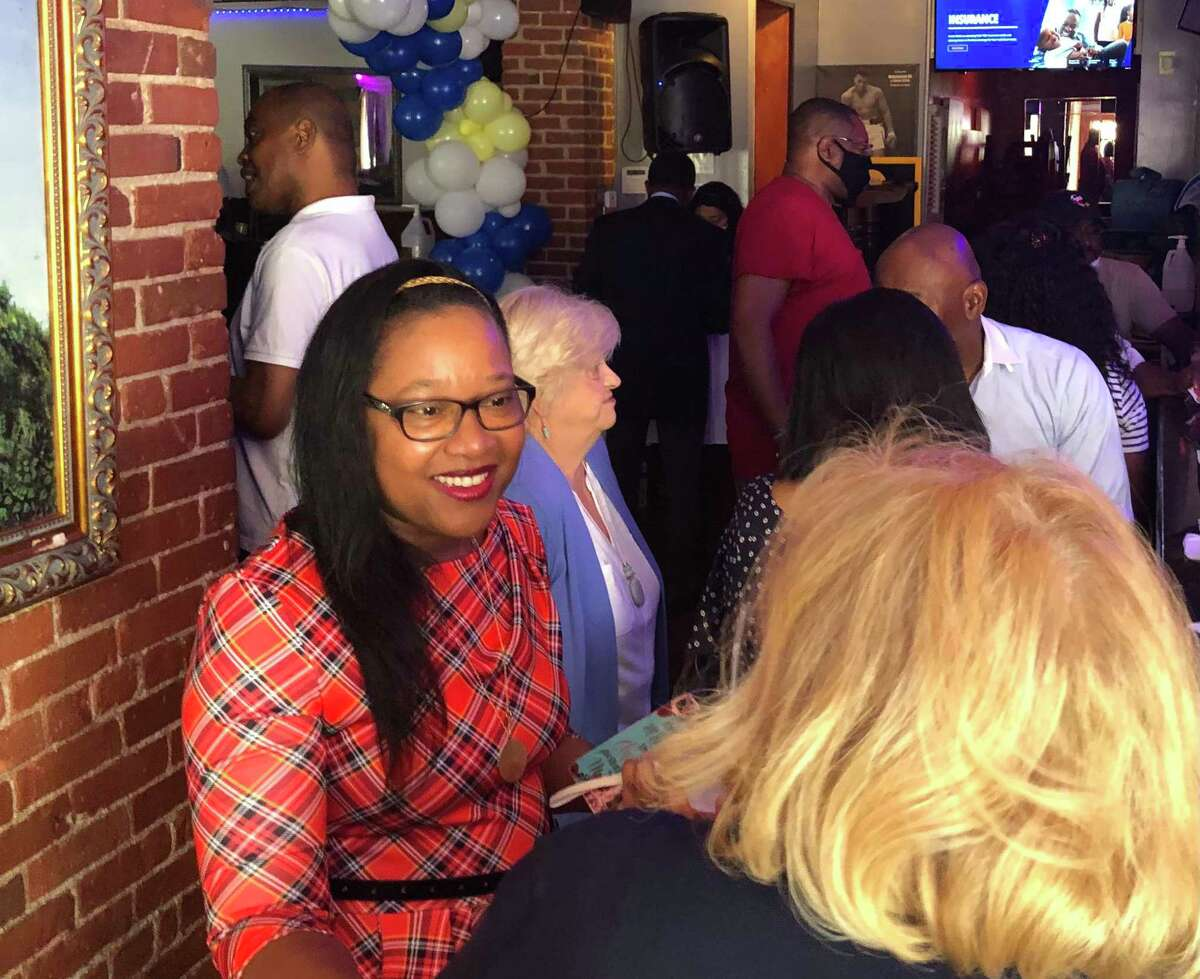 A file photo of Stratford mayoral candidate Immacula Cann at a 2021 fundraiser.