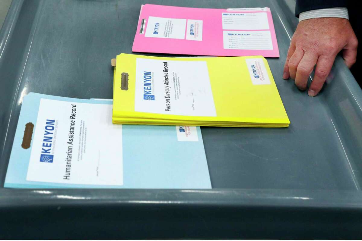Examples of some of the paper work and files used at disaster sites, stored at the company headquarters of Kenyon International Emergency Services Monday, May 10, 2021 in Spring, TX. The company travels the globe to assist in the family related victim services of disasters.