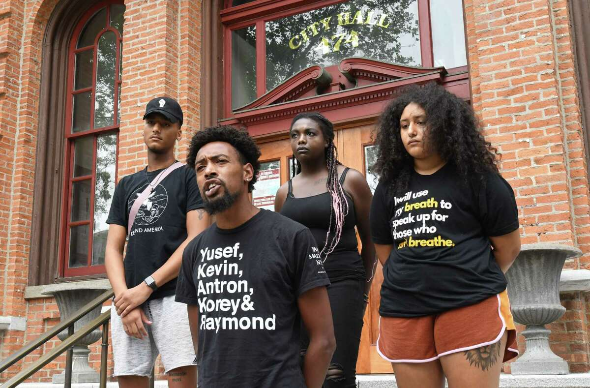 Activist Lexis Figuereo speaks as supporters of the Black Lives Matter movement hold a press conference outside city hall to talk about Saratoga Springs police blaming them for an uptick in violence in the city on Tuesday, July 6, 2021 in Saratoga Springs, N.Y. (Lori Van Buren/Times Union)