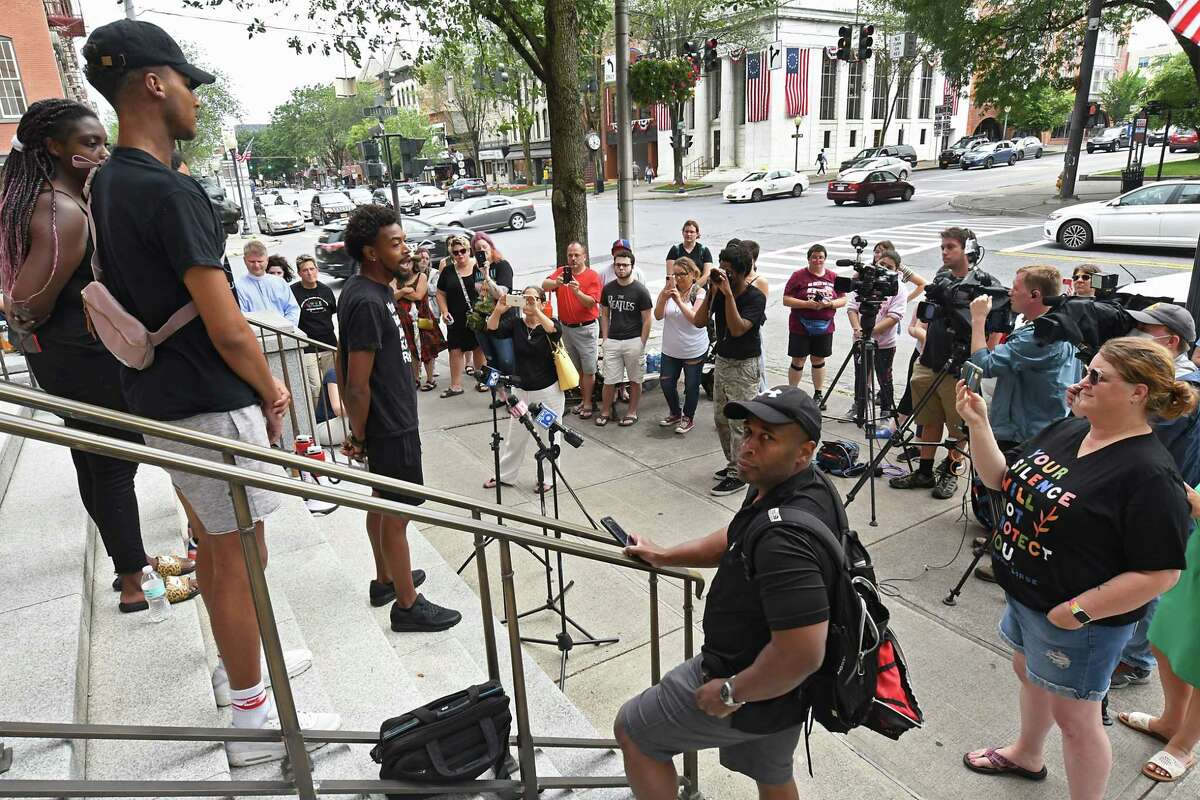 Activist Lexis Figuereo speaks as supporters of the Black Lives Matter movement hold a press conference outside city hall to talk about Saratoga Springs police blaming them for an uptick in violence in the city on Tuesday, July 6, 2021 in Saratoga Springs, N.Y. Seven activists were charged in September for actions police said they took at a July rally on Broadway. (Lori Van Buren/Times Union)