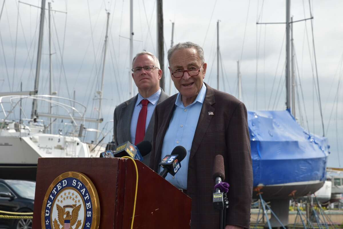 Senator Charles E. Schumer speaks from the Plattsburgh Boat Basin, urging U.S. to reopen its northern border.