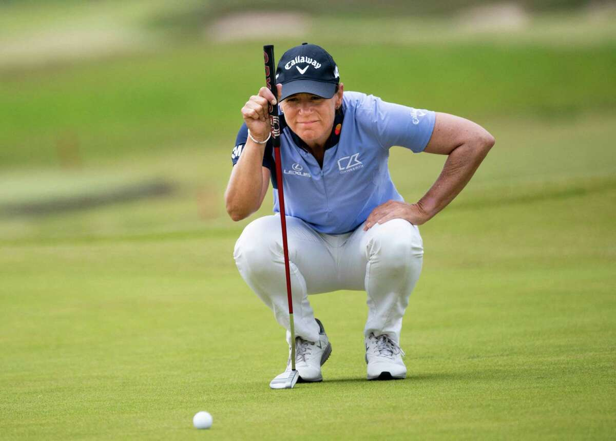 Annika Sorenstam in action during the first round of the Scandinavian mixed golf competition at Vallda Golf and Country Club in Kungsbacka, Sweden on June 10.