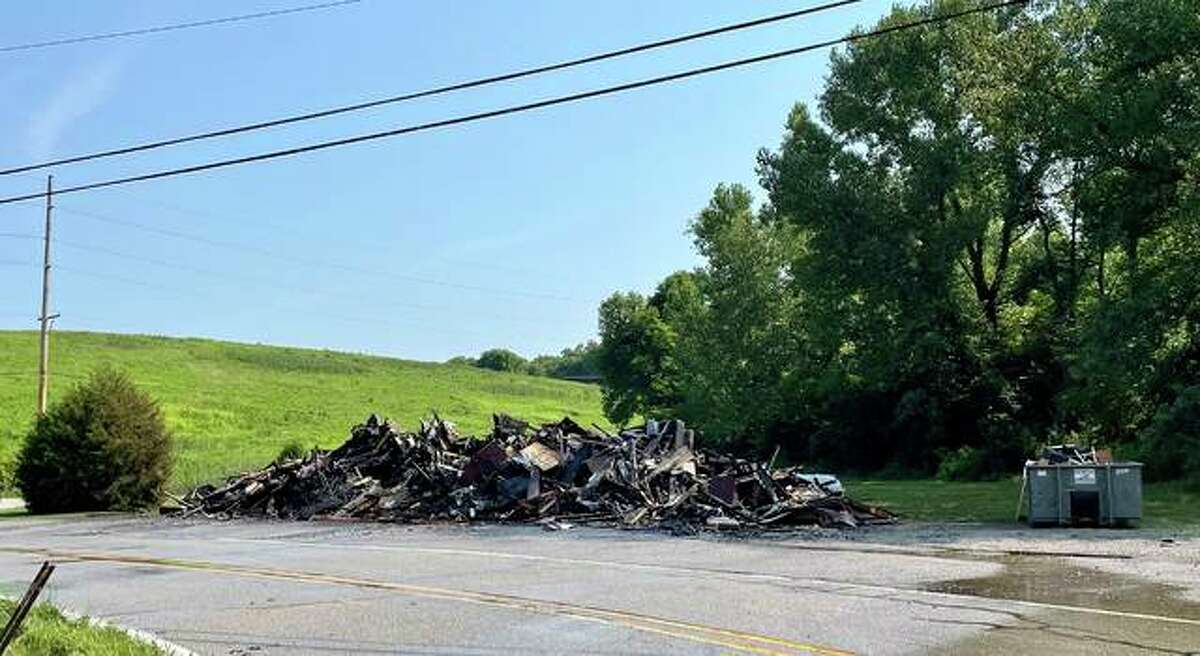 The remains of a Collinsville apartment building, which burnt down Tuesday morning.