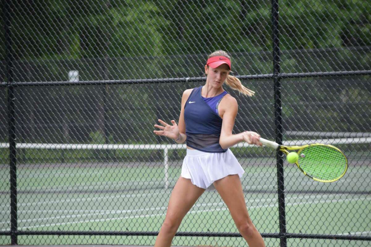 Branford's Ava Esposito hits a forehand return during the 18-Under New England Sectional Championship in Springfield, Mass. in June.