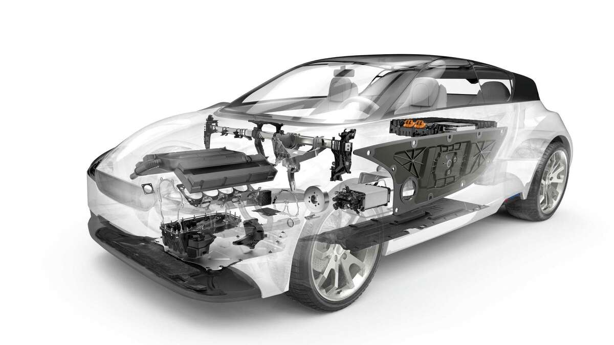 A rendering of a car with ElringKlinger-made parts. The cockpit cross-car beam the company supplies to Tesla crosses the hood just under the windshield.