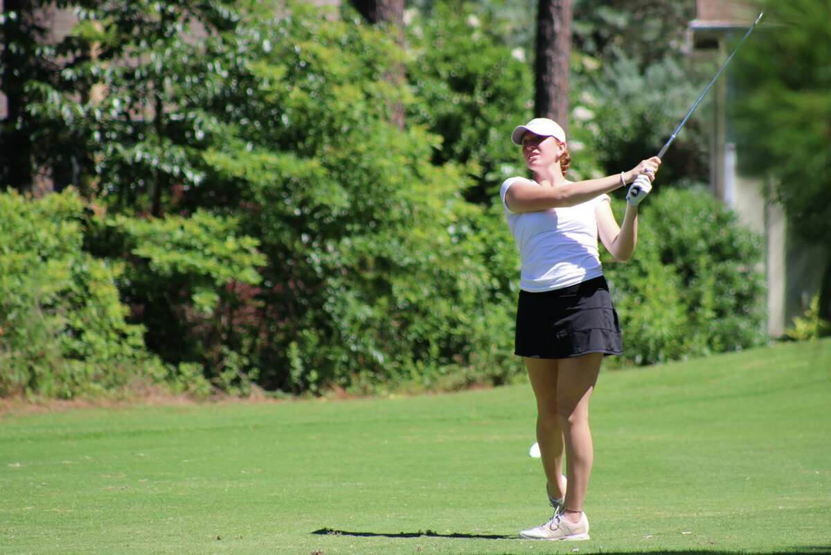 New Canaan's Molly Mitchell follows the flight of the ball during the National High School Girls Golf National Invitational, held at Pinehurst Resort in North Carolina June 23-25, 2021.