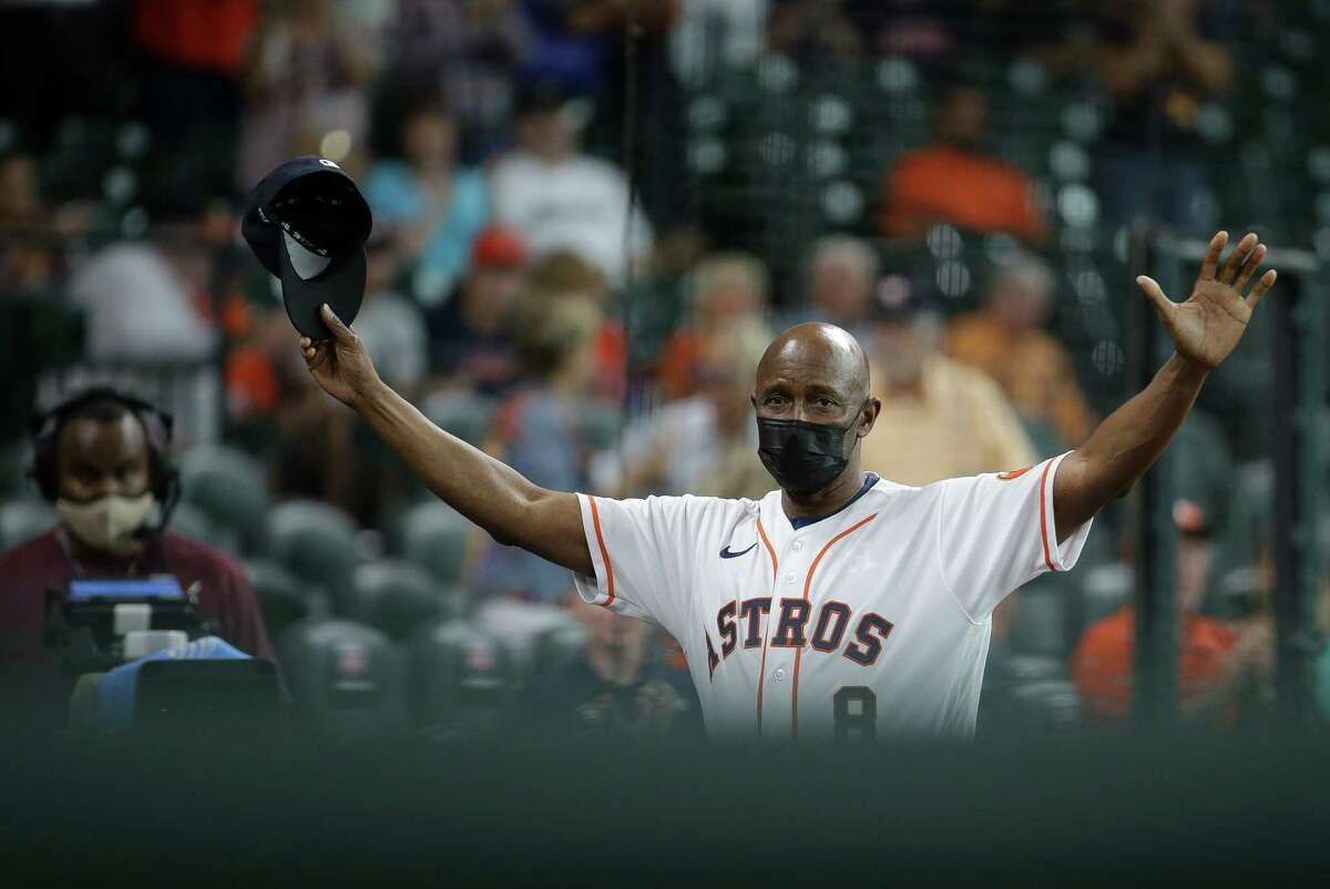 Astros third base coach Gary Pettis salutes the crowd during an announcement he is back coaching with the team - he missed time while battling multiple myeloma - on Tuesday at Minute Maid Park.