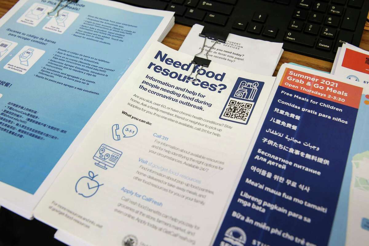 Pamphlets offer food-related services and resources in the office of Noelia Oropeza, at Student Nutrition Services in San Francisco.