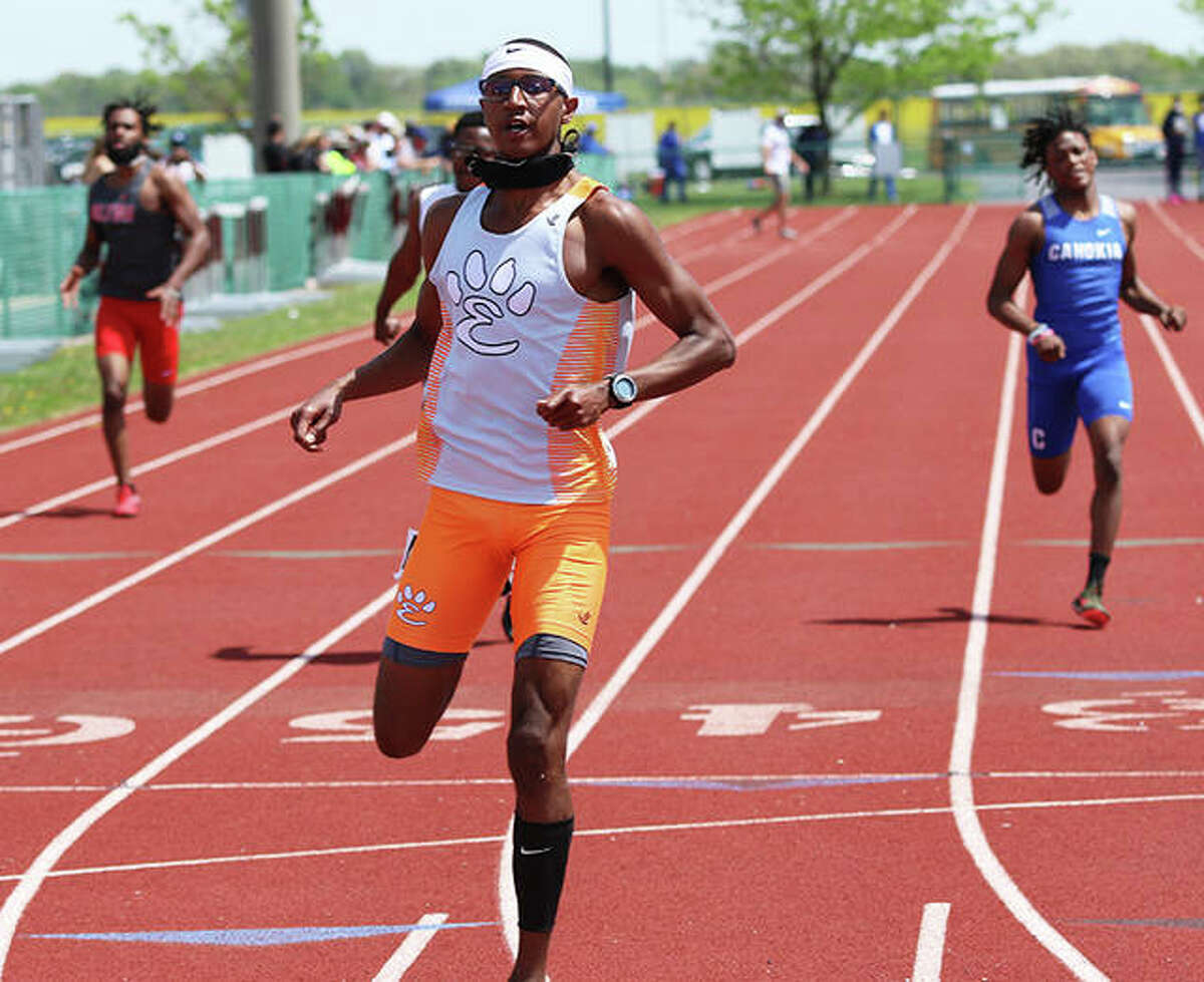 Edwardsville's Brandon Battle crosses the finish line in first place in the 400 meters at Belleville West Norm Armstrong Invite on May 1 in Belleville. Battle, the Class 3A state champion in the 100, 200 and 400, on Tuesday committed to run college track at Arkansas.