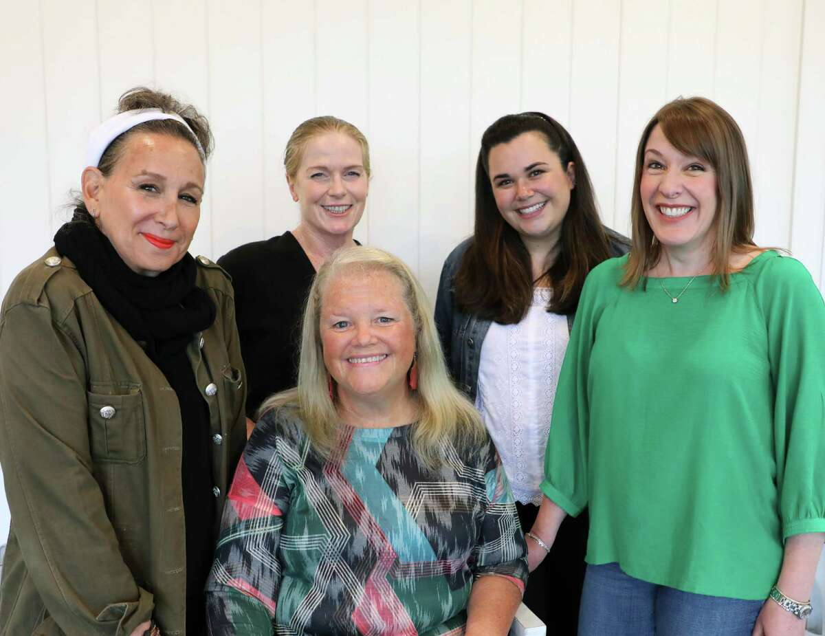 """From left are Terri Corigliano, Kelly Boucher, Mary Corigliano, Leslie Singer and Karen Gagliardi, who are appearing in """"Love, Loss and What I Wore"""" at The Kate in Old Saybrook."""