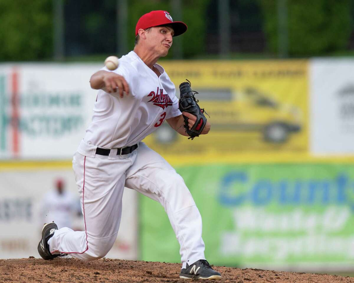 Tri-City ValleyCats reliever Jake Dexter against the New York Boulders at Joseph L. Bruno Stadium on the Hudson Valley Community College campus in Troy, NY, on Tuesday, July 6, 2021 (Jim Franco/Special to the Times Union)