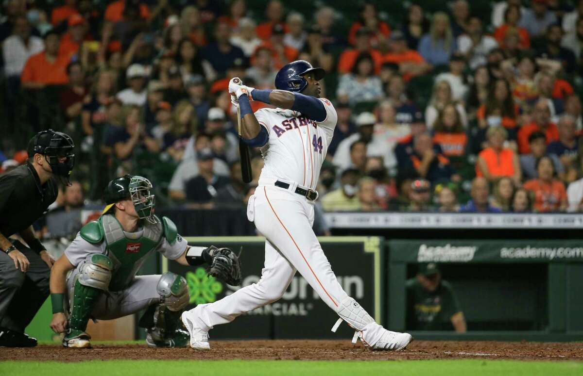Astros left fielder Yordan Alvarez eyes his three-run homer that tied the score at 6 during the fifth inning, allowing his team to overcome a four-run deficit in Tuesday's series-opening win over Oakland at Minute Maid Park.