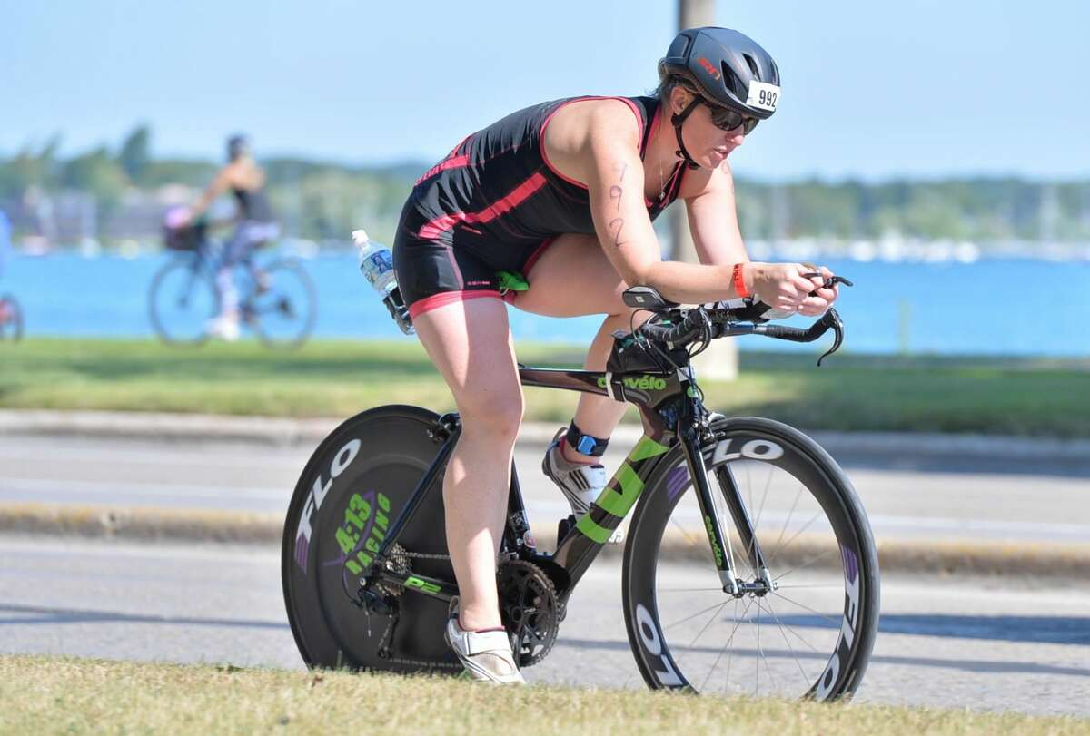 Sanford's Laura Crower competes in the bicycling portion of the 2021 USA Triathlon Athena National Championship in Chattanooga, Tenn.