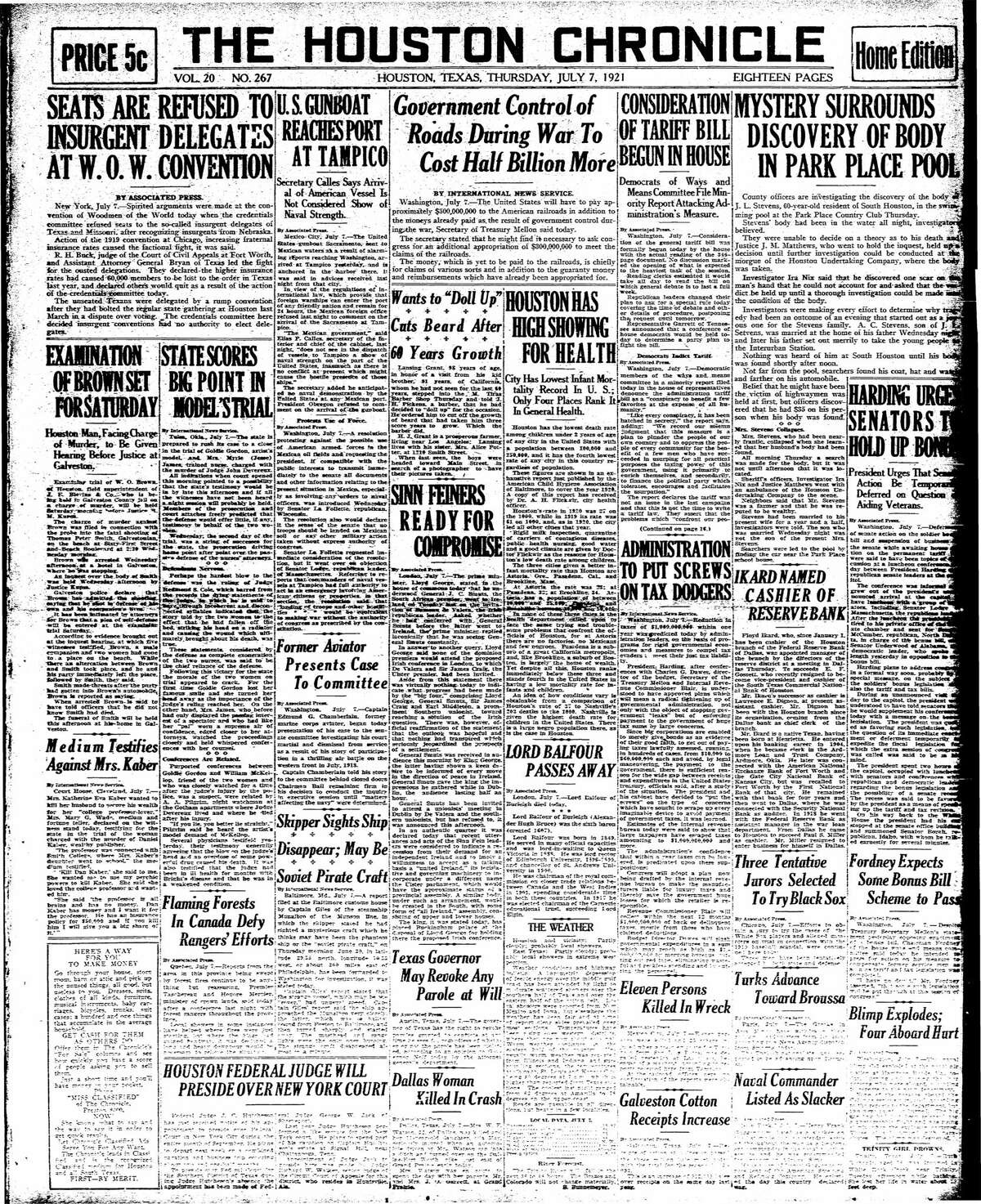 Houston Chronicle front page from July 7, 1921.