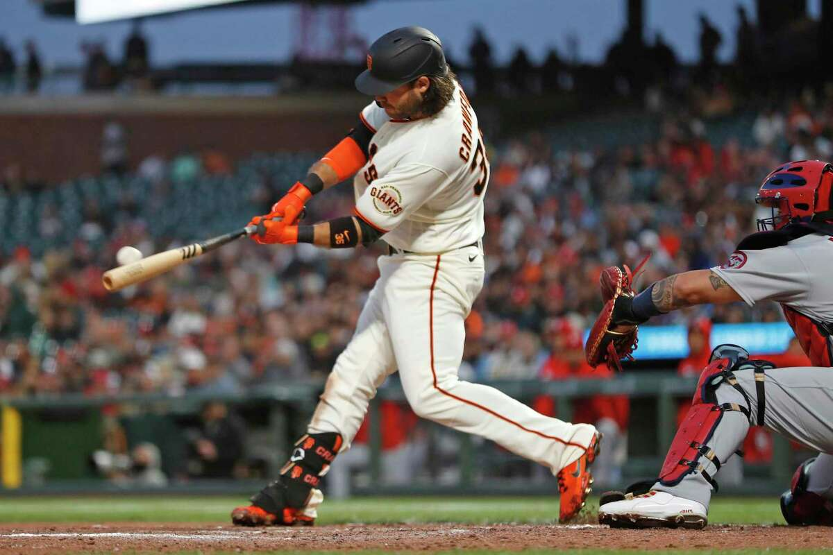 San Francisco Giants' Brandon Crawford hits an RBI double in 5th inning against St. Louis Cardinals during MLB game at Oracle Park in San Francisco, Calif., on Tuesday, July 6, 2021.