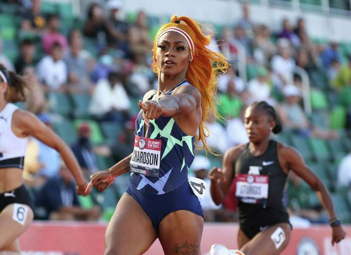 FILE - JULY 2, 2021: It was reported that Sprinter Sha'Carri Richardson will not be able to participate in the 100-meter event at the 2020 Tokyo Olympics after testing positive for marijuana at the U.S. Olympic Trials in June, July 2, 2021. EUGENE, OR - JUNE 19: Sha'Carri Richardson competes in the Women's 100 Meter on day 2 of the 2020 U.S. Olympic Track & Field Team Trials at Hayward Field on June 19, 2021 in Eugene, Oregon. (Photo by Andy Lyons/Getty Images)