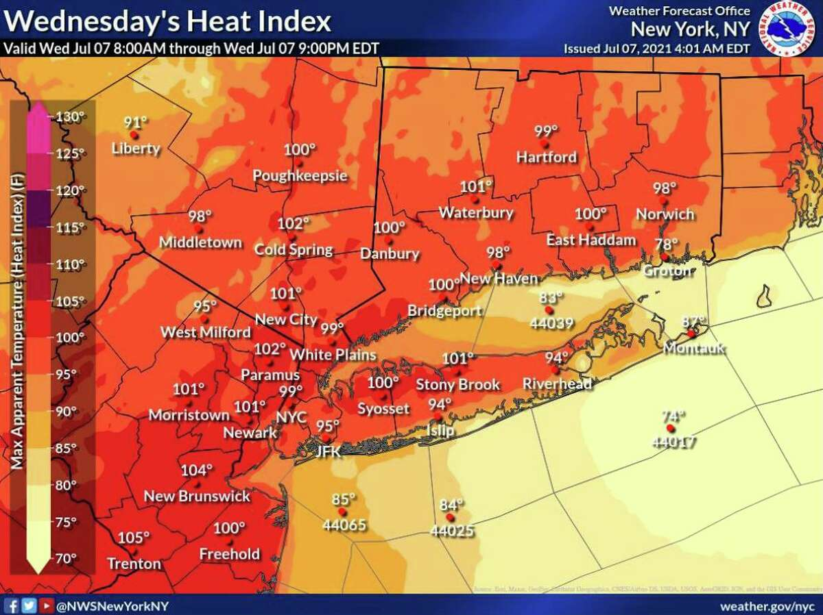 A map showing the heat index values expected in the region on Wednesday, July 7, 2021.
