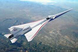 The X-59 quiet supersonic airplane.