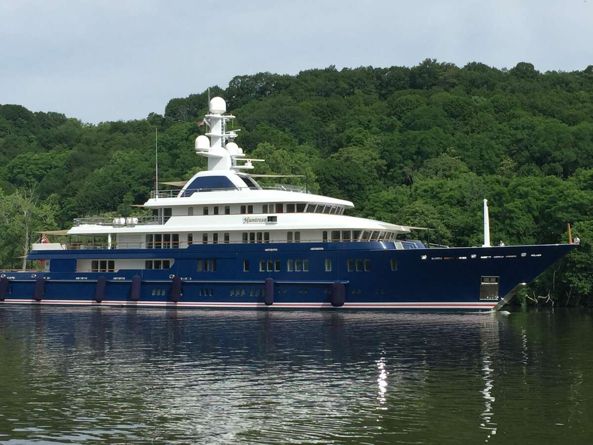 A palatial yacht measuring 248 feet long has enjoyed a summer voyage up the Hudson River, and was photographed here on the Rondout Creek. The yacht's interior, designed by Pauline Nunns, can accommodate 12 guests and a crew of 22.