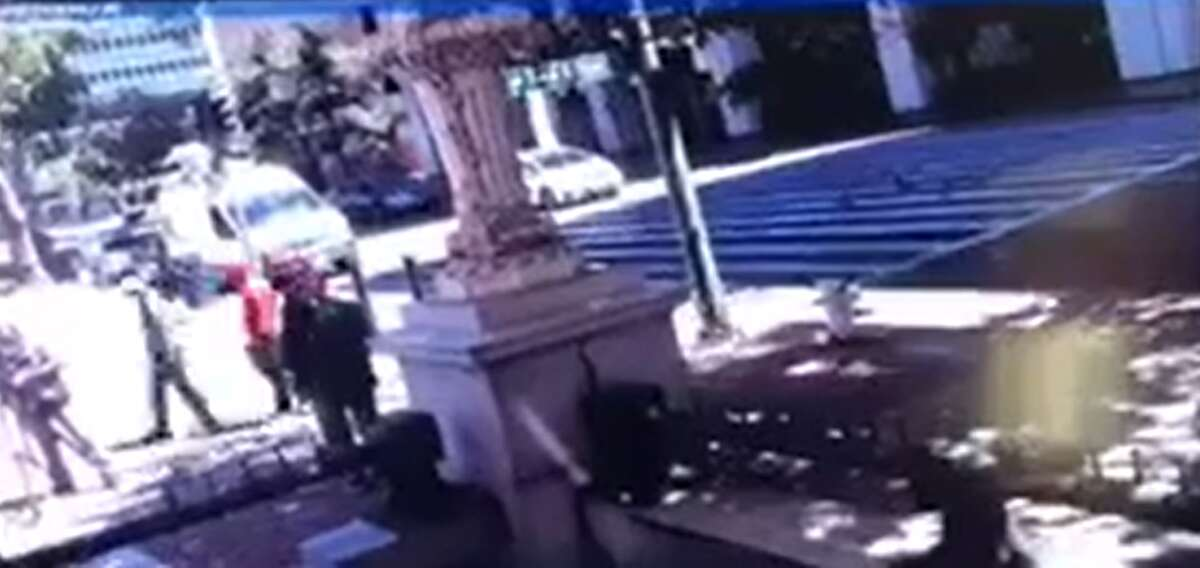 Footage shared by the Oakland Police Department of the NBC Bay Area crew holdup.