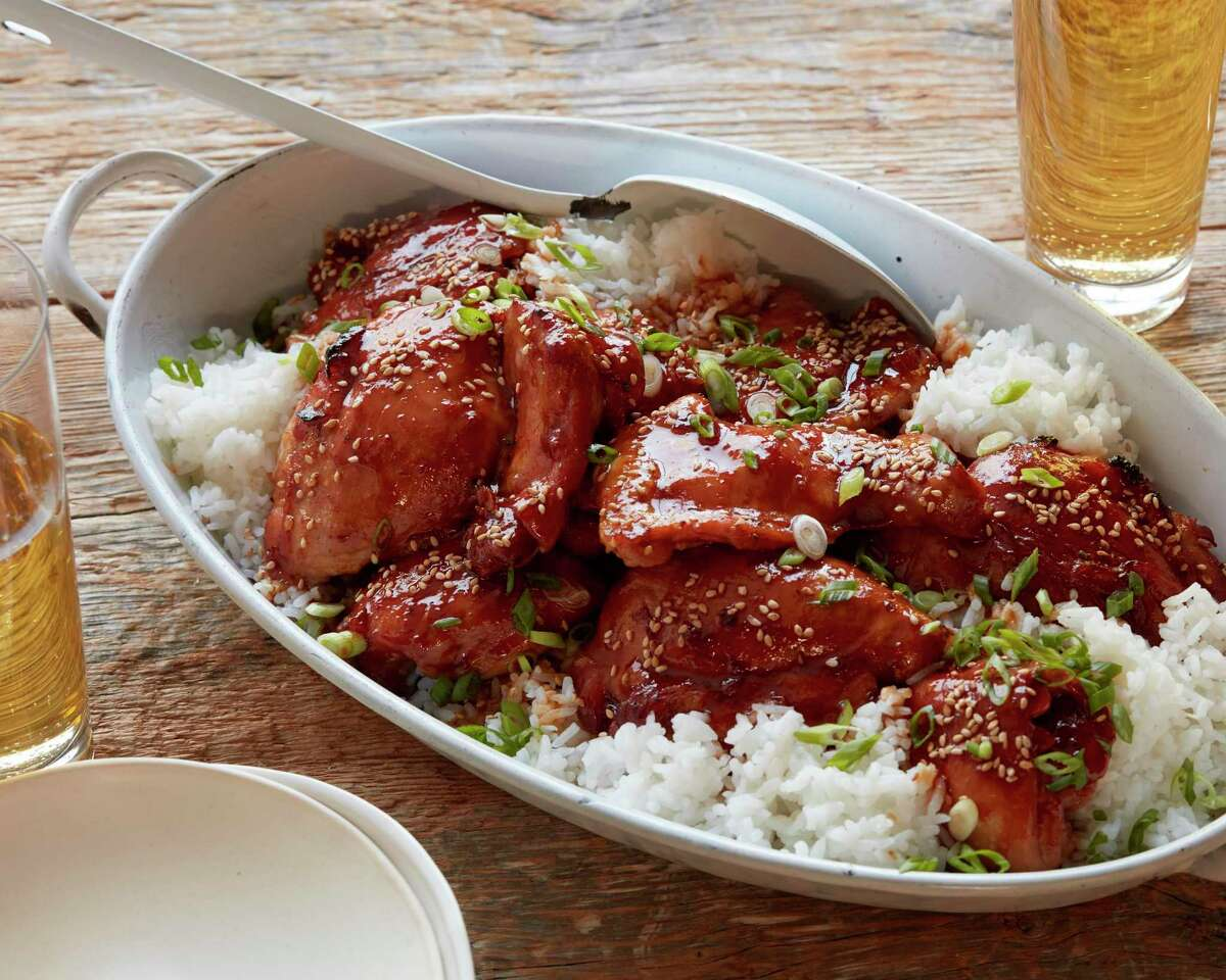 """Soy sauce, honey, ginger and garlic flavor this easy recipe for """"Slow-Cooker Chicken Thighs"""" from Food Network Kitchen."""