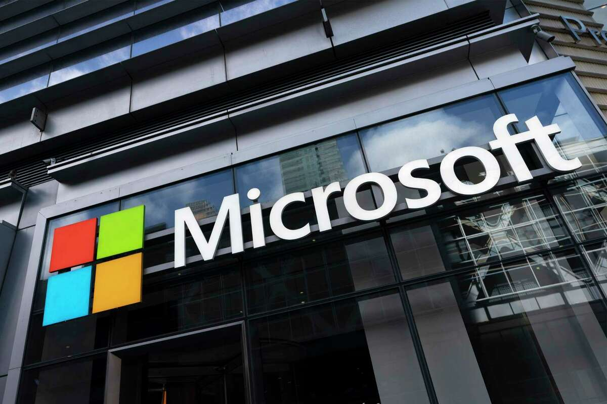 FILE - This May 6, 2021 photo shows a sign for Microsoft offices in New York. Federal law enforcement agencies secretly seek the data of Microsoft customers thousands of times a year. That's according to congressional testimony being given Wednesday, June 30, by a senior executive at the technology company.