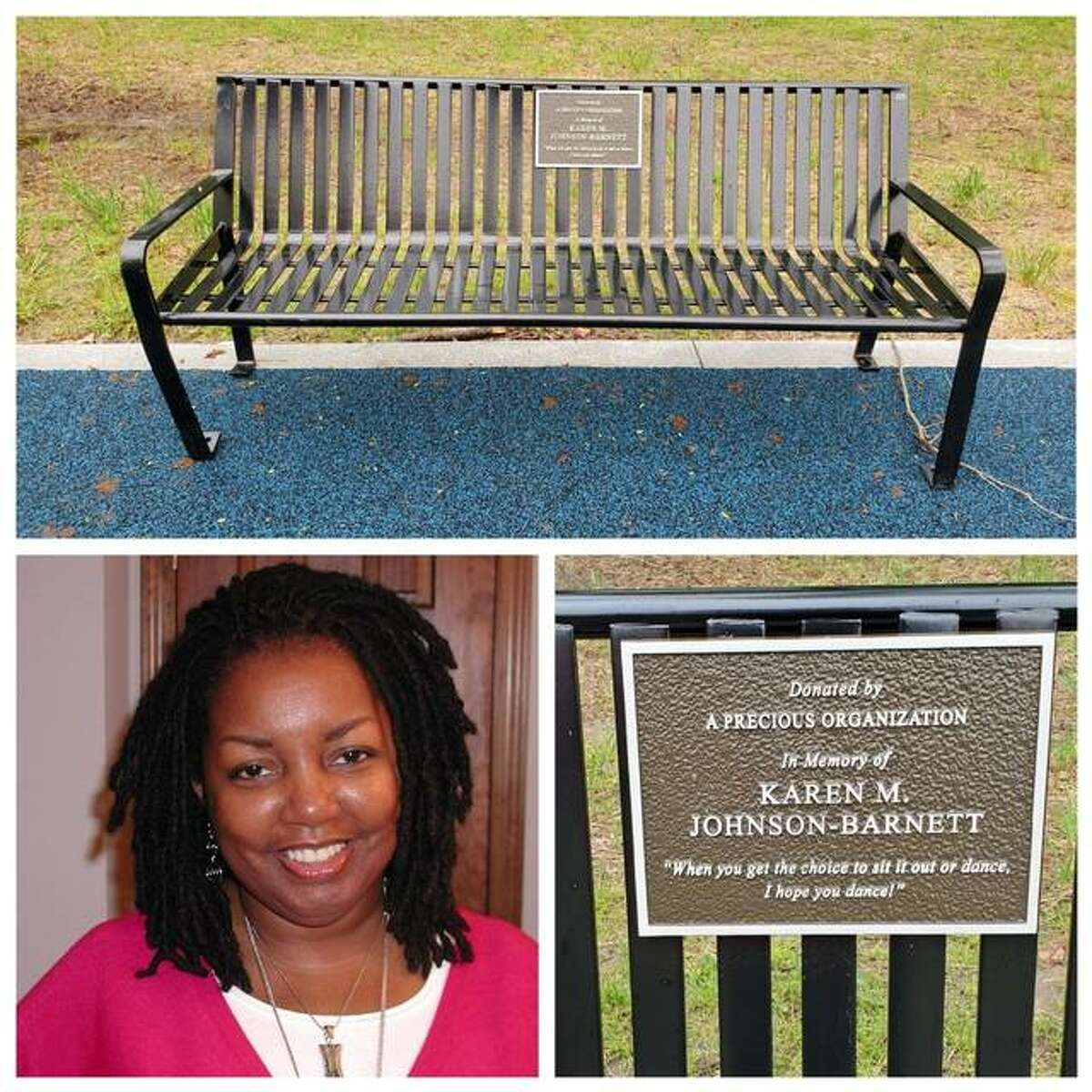A bench at Rock Spring Park in Alton is dedicated to Karen M. Johnson-Barnett and who both died due to complications of sickle cell disease. This year's walk is planned Sept. 18.